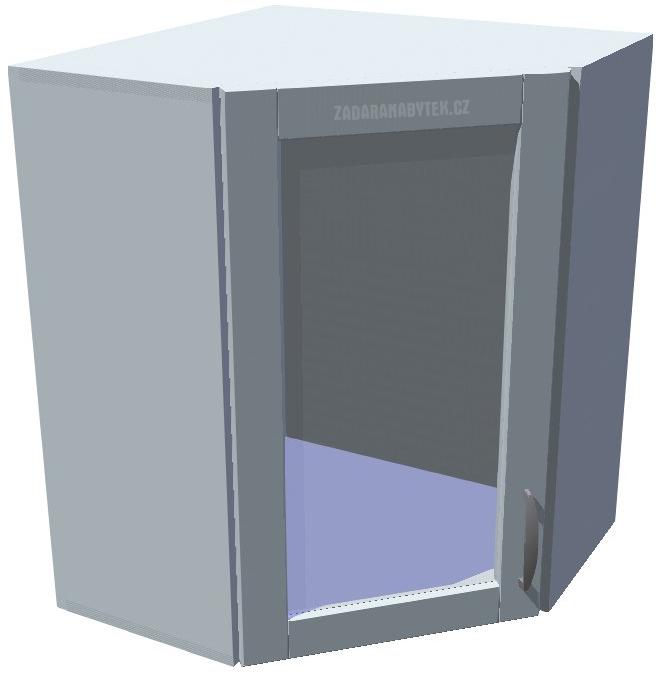 Horní kuchyňská rohová prosklená skříňka