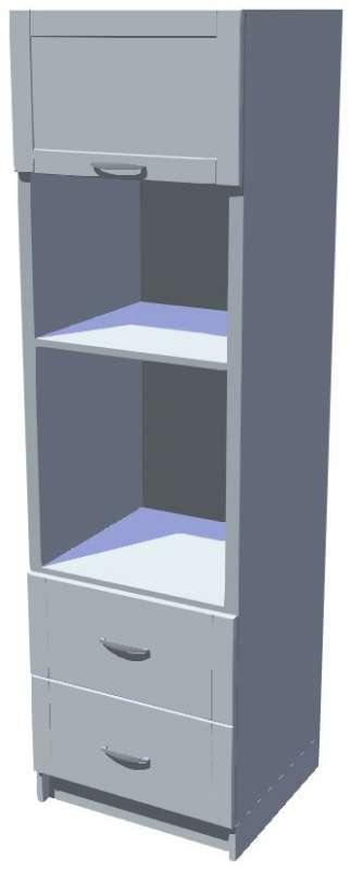 Skříň pro vestavnou troubu a mikrovlnku se šuplíky vysoká 206 cm