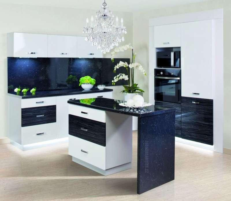 Moderní kuchyně Carmen - vysoký lesk černý palisandr / bílá