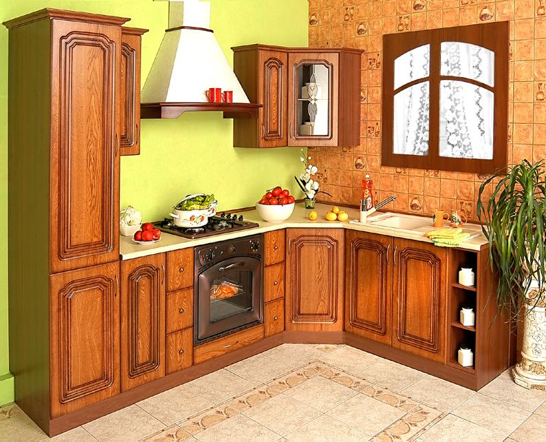 Rohová rustikální kuchyňská linka Bolero