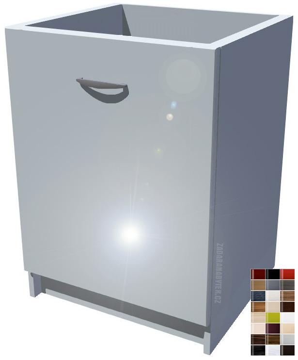 Lesklá spodní kuchyňská skříňka 60 cm drátěný program