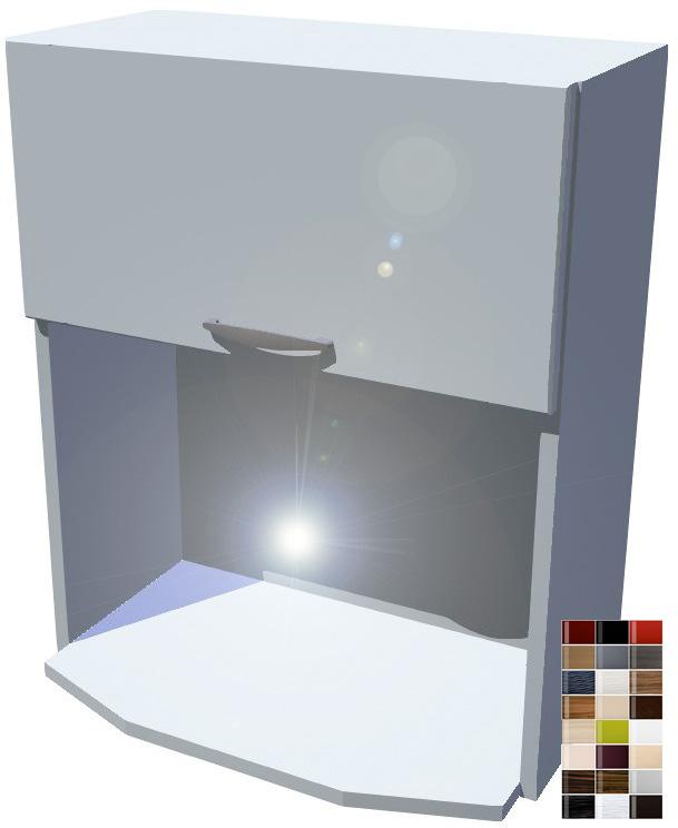 Lesklá skříňka na mikrovlnku 60 cm - výklop