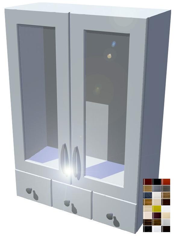 Lesklá horní skříňka se šuplíky vitrína