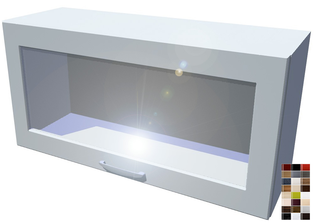 Lesklá skříňka výklopná prosklená Carmen 80 cm