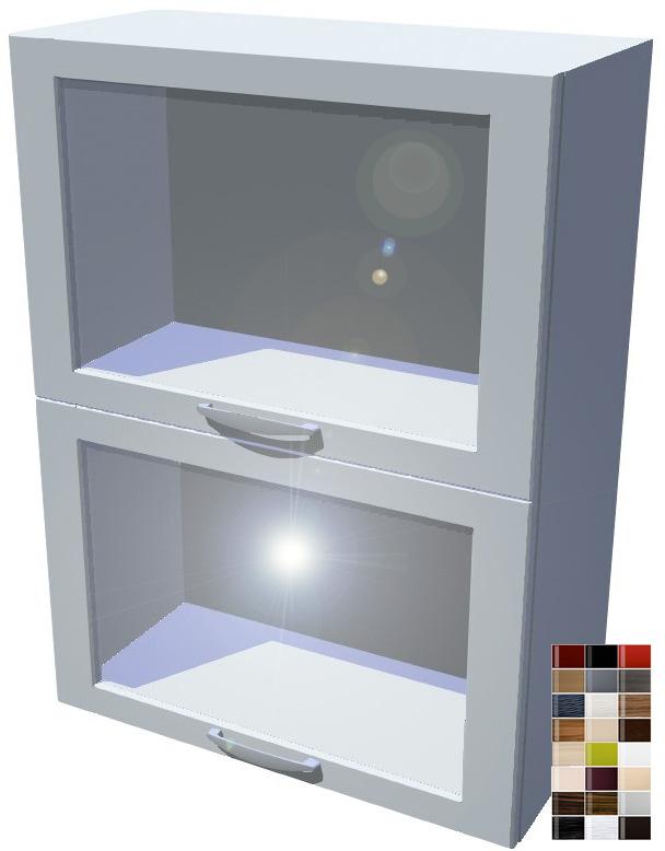 Lesklý dvojitý výklop vitrína 60 cm