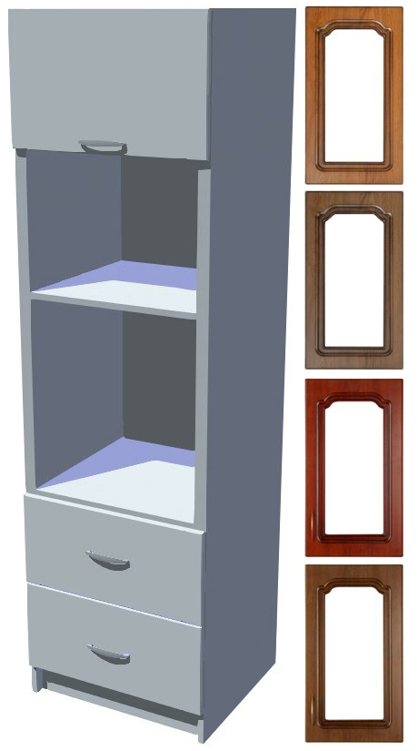 Rustikální skříň Bolero na vestavnou troubu a mikrovlnku se šuplíky