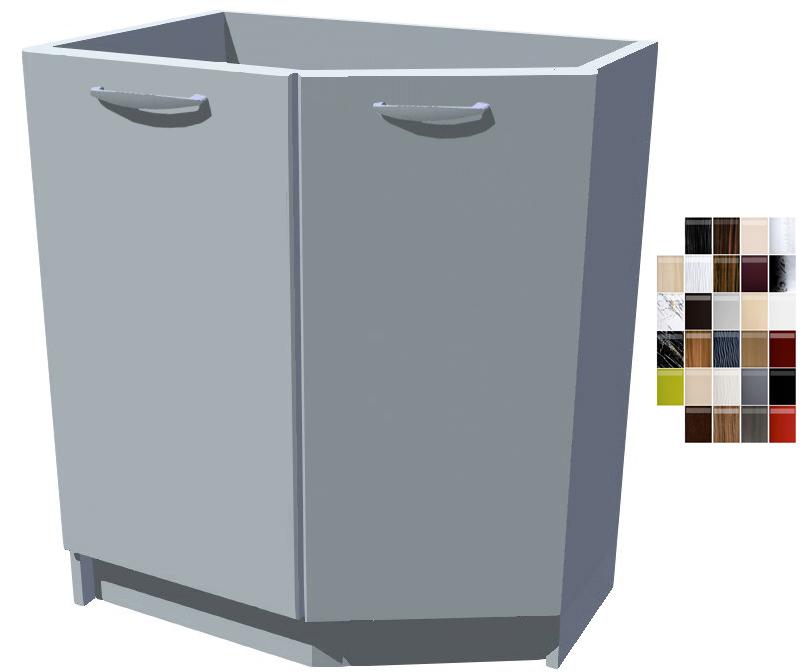 Lesklá spodní zakončovací skříňka 70 cm 2D