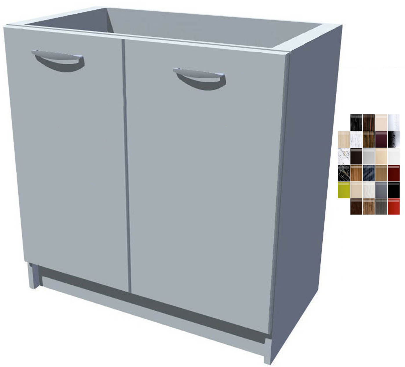 Lesklá dřezová kuchyňská skříňka 80 cm 2D