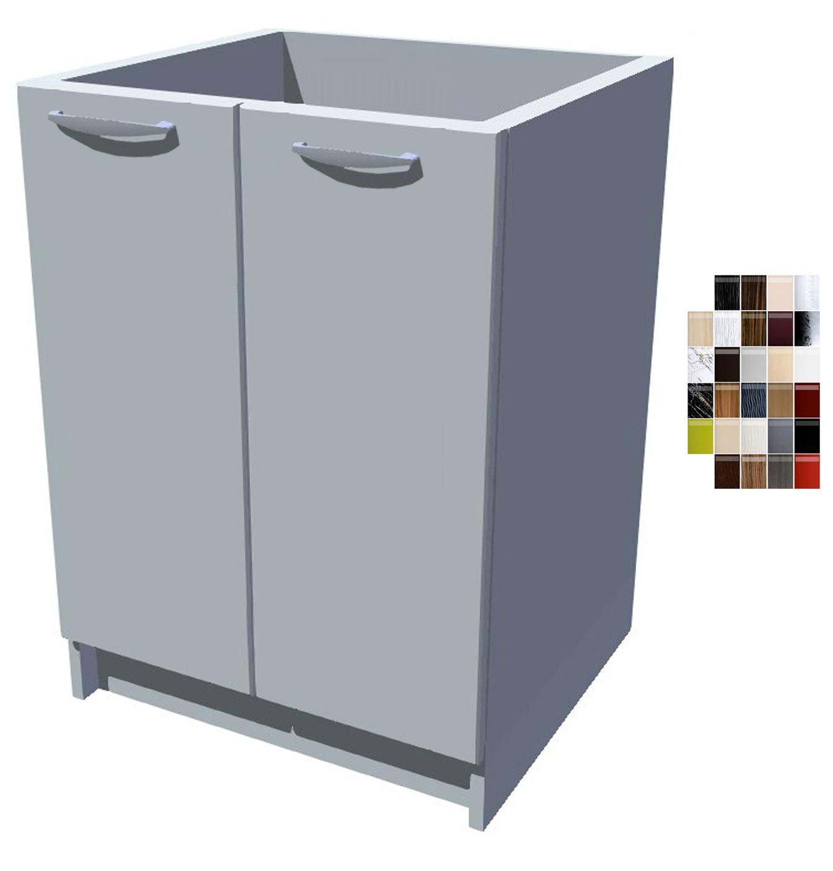 Lesklá dřezová kuchyňská skříňka 60 cm 2D