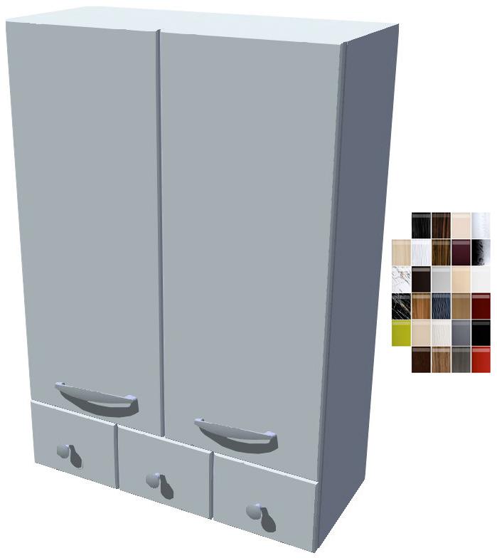 Lesklá horní skříňka se šuplíky
