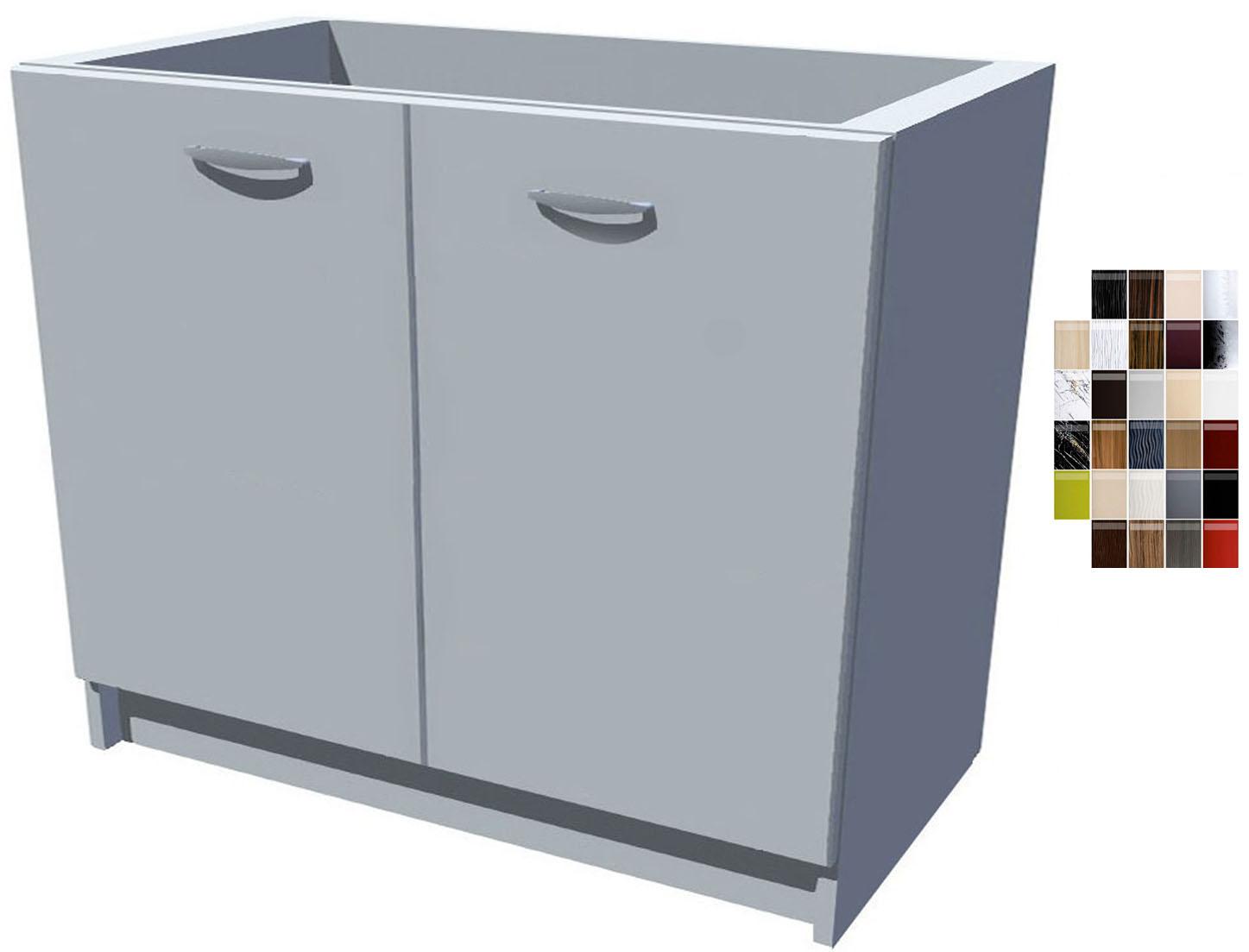 Lesklá dřezová kuchyňská skříňka 100 cm 2D